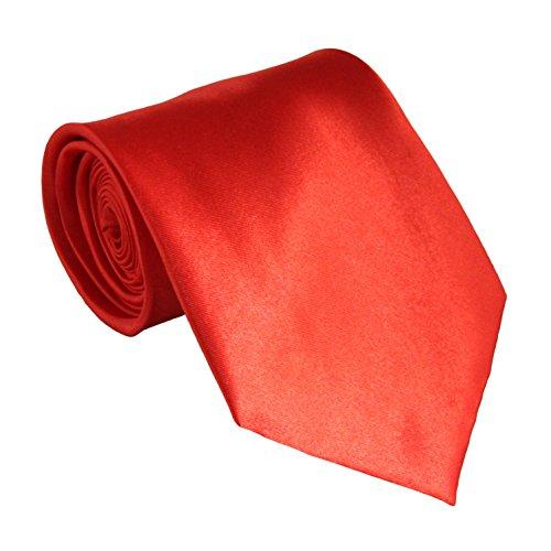 Soophen NEW Mens Necktie SOLID Satin Neck Tie Orange Red