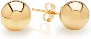 9K Gold Filled High Polished Ball Stud Earrings for Women All Sizes 3mm - 6mm