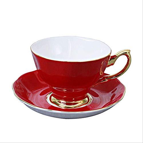 Hochwertige Knochen China Kaffeetasse Und Untertasse Mode Gold Plating Teetasse Porzellan Nachmittag Tee Schwarz Tee Home Drinkware Geschenk 2Kaffee Tasse Untertasse