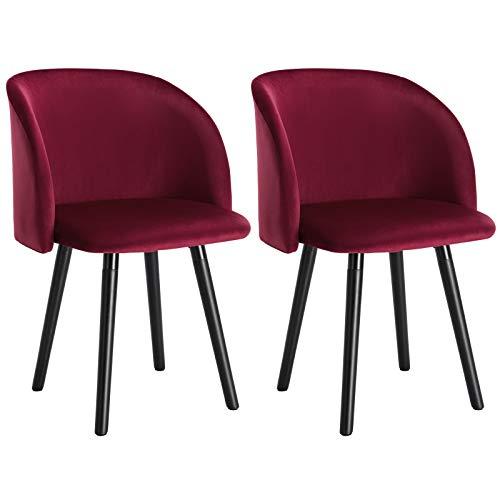 WOLTU 2X Sillas de Comedor Nordicas Estilo Vintage Dining Chairs Juego de 2 Sillas de Cocina Sillas Tapizadas en Terciopelo Silla de Conferencia Silla de Escritorio Burdeos BH121bd-2