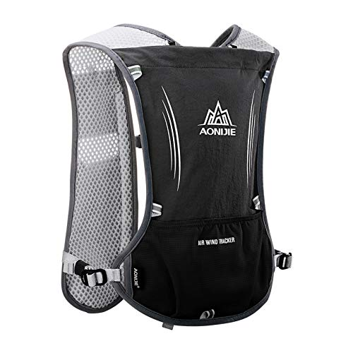 AONIJIE Hydration Backpack Vest 5L Capacity Multi Pocket Design Breathable and Lightweight Pack for Outdoor Sports Running Cycling Climbing and Hiking Only Vest Black