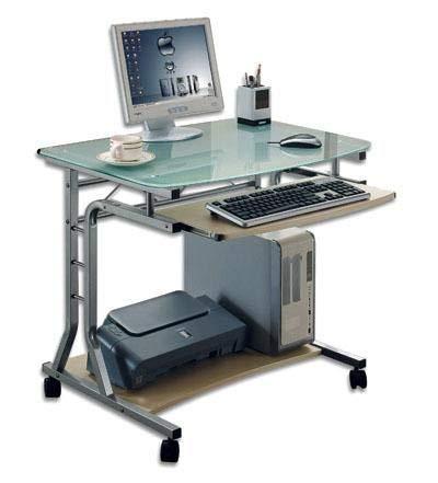 Techly 305687 Scrivania per PC Compatta in Metallo e Vetro con Ruote Ciliegio Chiaro