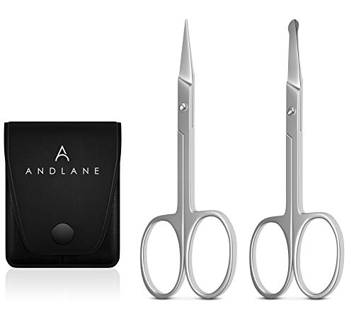 Curved and Rounded Facial Hair Scissors - Mustache, Nose Hair & Beard...