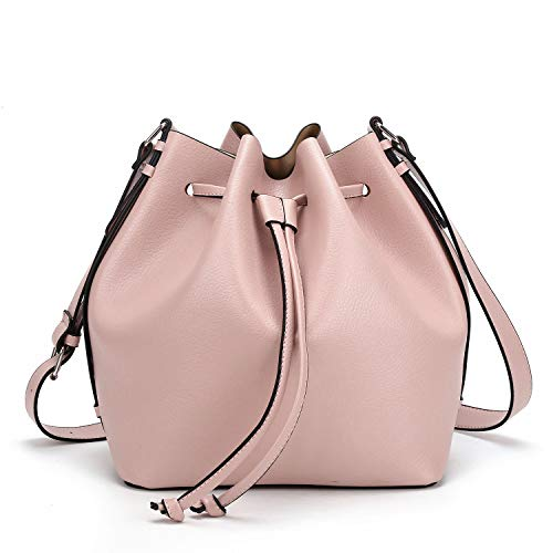 AFKOMST Drawstring Bucket Bag for Women Large Crossbody Purse and Shoulder Tote Handbags Pink