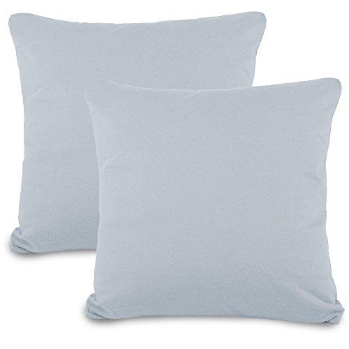 aqua-textil Classic Line Funda de cojín, algodón, Gris/Plateado, Doppelpack 80 x 80 cm, 2
