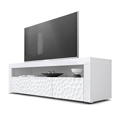 Mesa Baja para TV Valencia, Cuerpo en Blanco Mate/Frentes en Blanco de Alto Brillo con Estructura 3D Calipso y Marcos en Blanco de Alto Brillo