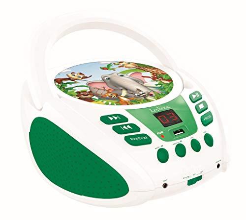 Lexibook Radio Lettore CD MP3 Animali per Bambini, AUX-in, Porta USB, Presa Microfono, Verde/Bianco, Colore