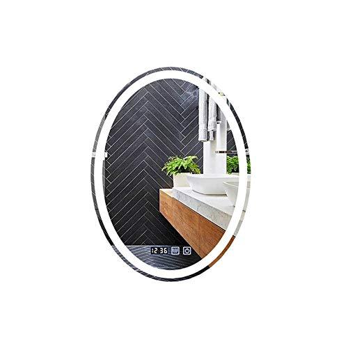 MFWallMirror Intelligente badkamerspiegel, ovale spiegel, aan de muur gemonteerd, wandhouder, badkamer, make-uptafel, verlichting, LED wastafelspiegel