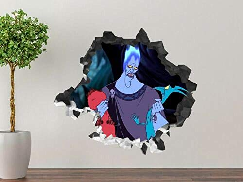MIWNXM Villain Hades Smashed Wall Decal Kids 3D Sticker Decor Vinyl Art 26x22 inch