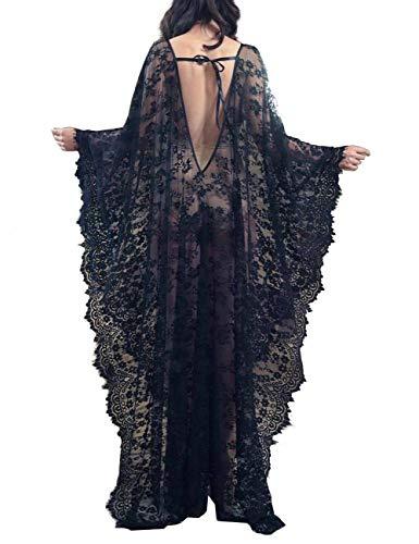 Bikini Cover up Robe Women Boho Beach Wears Black Eyelash Lace Soft Thin Oversized Bikini Kimono (7195)