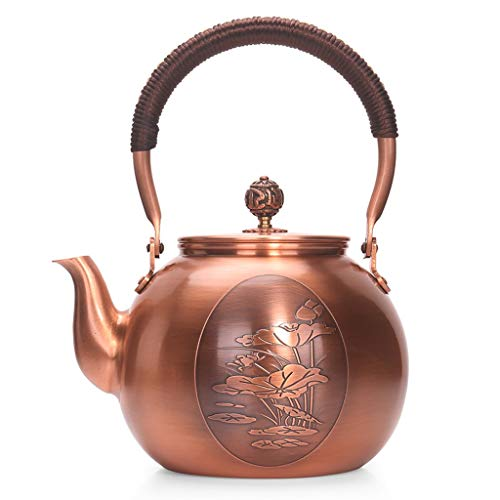 Dr. Handheld Stove Copper Teapot 1300ml Large Capacity Kettle, Anti scalding Handle for Electric Ceramic Furnace Burning Kettle Camping Cooker Tool