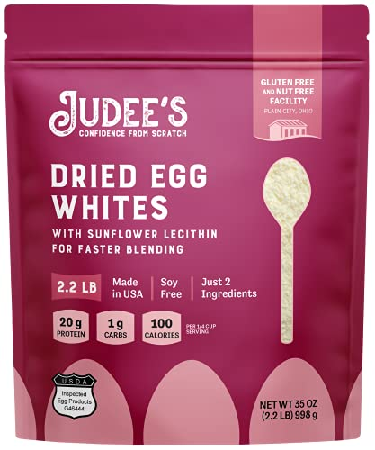 Judee's Egg White Protein Powder for Fast Blending 2.2lb - 100% Non-GMO, Keto-Friendly - Dairy-Free, Soy-Free, Paleo-Friendly, Gluten-Free & Nut-Free - Made in USA
