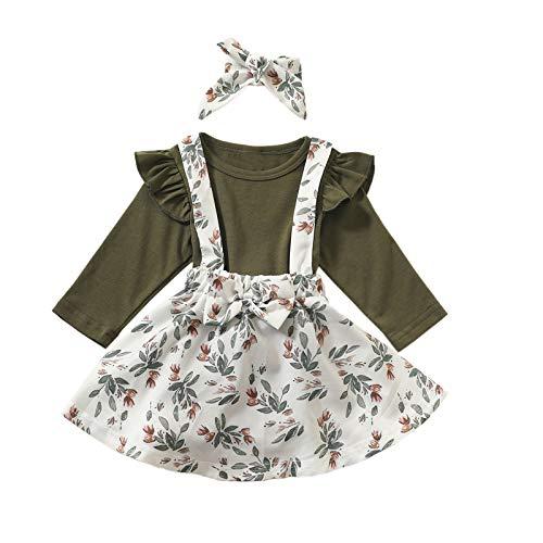 DERCLIVE Juego de 3 piezas de ropa para bebé con volantes + falda con correa floral + diadema, verde militar + blanco