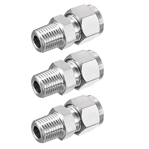 uxcell Stainless Steel Compression Tube Fitting 1/4NPT Male x 10 Tube OD 3pcs