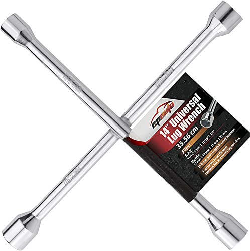 "EPAuto 14"" Heavy Duty Universal Lug Wrench, 4-Way Cross Wrench"