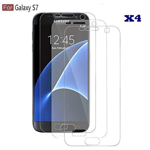 NOVAGO Compatible avec Samsung Galaxy S7 Lot de 4 Films Souples Protection écran résistants Anti Petit Chute et Choc, Couvre la totalité de l'écran (Regardez la vidéo de Pose Avant Votre Application)