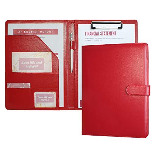 Ordner A4 Klemmbrett A4 mit Deckel Schreibmappe Leder Klemmbrettmappe Arbeitsmappe A4 Kladde Schreibblock, Dokument-Ordnungshelfer mit Innenfächern (Red)