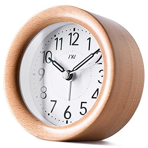 GoodWell Snooze Despertador De Madera Aguja Luminosa Suave Movimiento Barrido Circular Mudo Despertadores Infantiles De Decoración