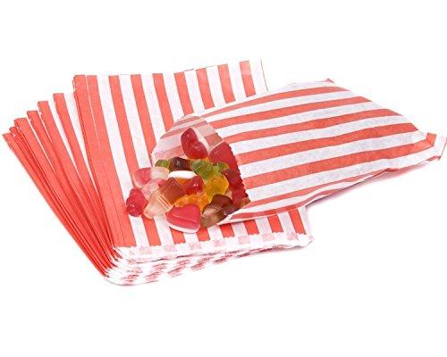 Candy Stripe Paper Bags Sweet für Buffet Geschenk Shop Party Süßigkeiten Kuchen Hochzeit 9Farben Designs * UK Verkäufer * Versand am gleichen Tag *, rot, 1000 Bags