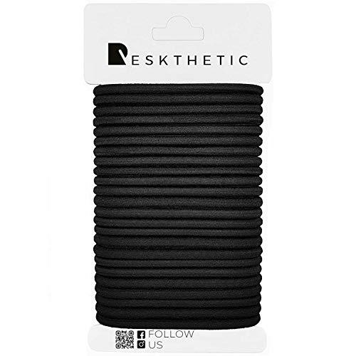 Reskthetic - Haargummis, 24 Stück (4mm, schwarz) aus hochwertigem (sehr reißfest), umweltfreundlich und geruchsneutral, ohne Metall für Mädchen, Frauen (Damen) und Männer (Herren)