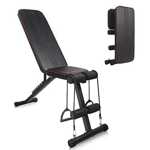BETELNUT Adjustable Weight Bench For Home Gym, Folding Full Body Workout Bench With 7 Positions And Elastic Ropes For Strength Training Dumbbells Exercise