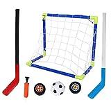 Meijin Portería de hockey sobre hielo 2 en 1 Niños de Fútbol Hockey sobre Hielo Kit de Objetivo con Bolas Bomba de Niño Deportes al aire libre Accesorios