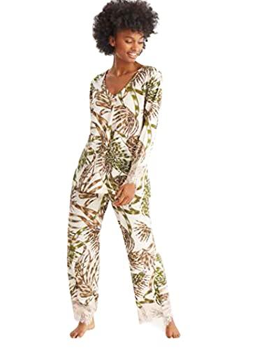 PROMISE Pijama de Mujer Estampado Hojas N10962 - Nude, XL