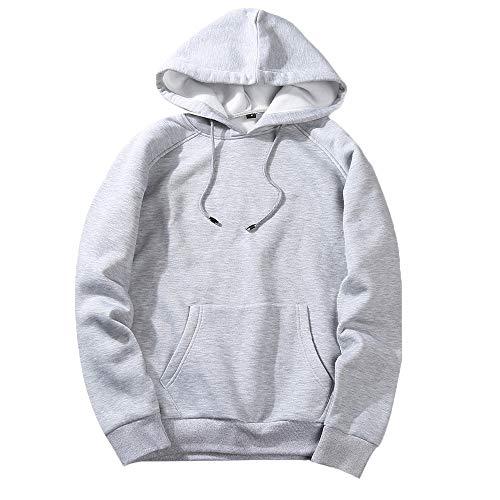 UJUNAOR Herren Langarm Hoodie T-Shirt Kapuzenshirt Mit Kapuze Männer Pullover in Vielen Farben(Grau,S)