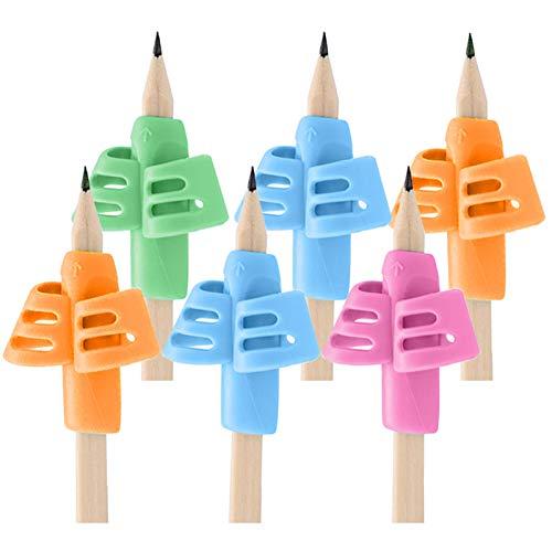 Bleistift Griffe für Kinder - 6 Stück Silikon Schreibhilfe Ausbildung fur Kinder Bleistifthalter Stift Schreibhilfe Grip Haltungskorrektur Werkzeug (6)