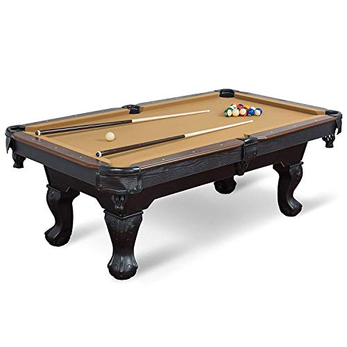 EastPoint Sports Masterton Billiard Pool Table - Tan Felt , 87-inch - Features Traditional Claw Legs and Parlor Style Drop Pockets - Includes 2 Cues, Billiards Balls, and Triangle