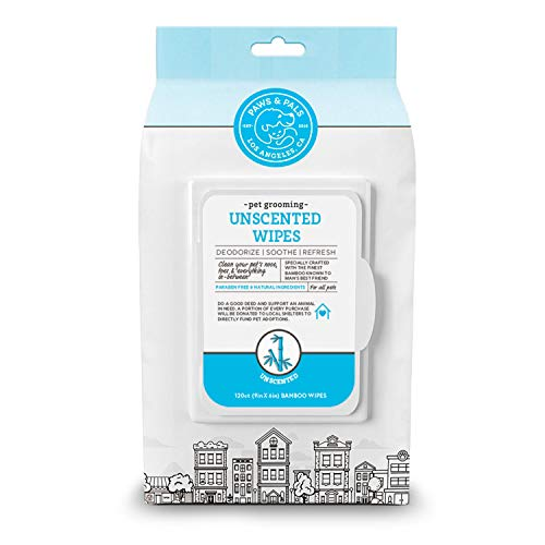 Paws & Pals Dog Pet Wipes, Eco-Friendly Bamboo Made for Deodorizing & Cleaning Sensitive Skin, Hypoallergenic Grooming Wet Tissue for Doggie Cat or Puppy - Unscented - 120 Count