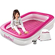 EnerPlex Inflatable Toddler Travel Bed with High Speed Pump, Portable Air Mattress for Kids, Blow up Mattress with Sides – Built-in Safety Bumper
