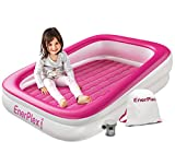 EnerPlex Kids Inflatable Travel Bed, Portable Air Mattress for Kids on The Go, Blow up Mattress with Sides – Built-in Safety Bumper - Pink 2-Year Warranty