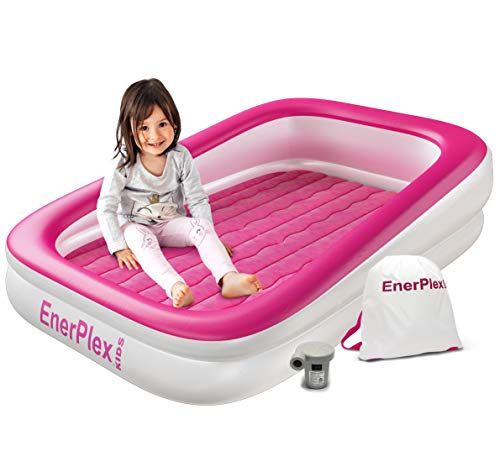 EnerPlex Kids Inflatable Travel Bed, Portable Air Mattress for Kids on The Go, Blow up Mattress with Sides – Built-in Safety Bumper - Pink