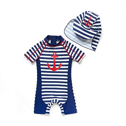 BONVERANO Baby Junge EIN stück Kurzärmel-Kleidung UV-Schutz 50+ Badeanzug MIT Einem Reißverschluss(Blau-MaoFringe,24-36M)