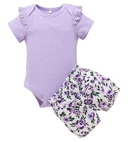YANGLIXIA Recién Nacido sin Mangas Mono Mono niño niño Ropa de Verano Juego Pantalones + Diadema, 0-18 Meses purple-80cm