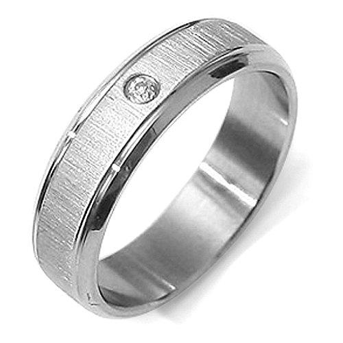 Gemini Damen-Ring Titan , Herren-Ring Titan , Freundschaftsringe , Hochzeitsringe , Eheringe, Farbe: Silber, Zirkonia Breite 6mm Größe 75 (23.9)