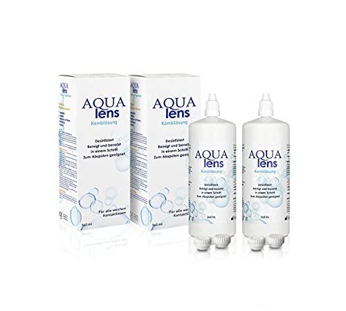 AQUA lens Kontaktlinsen Fluessigkeit - Sparpack (2x 360 ml + 2 x Behälter) - Premium All-in-One Pflegemittel für weiche Kontaktlinsen mit HPMC