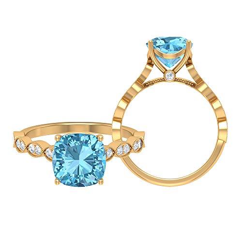 Anillo de corte de cojín solitario, anillo marquesa de oro macizo, piedras preciosas de 2,77 ct, D-VSSI moissanite 8,50 mm, anillo de compromiso aguamarina, 10K Oro amarillo, Size:EU 53