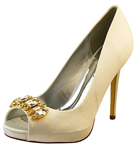 Footwear Studio Femmes Sabatine Satin Diamante Cluster Nuptiale Chaussures De Mariage EU 40 Ivoire