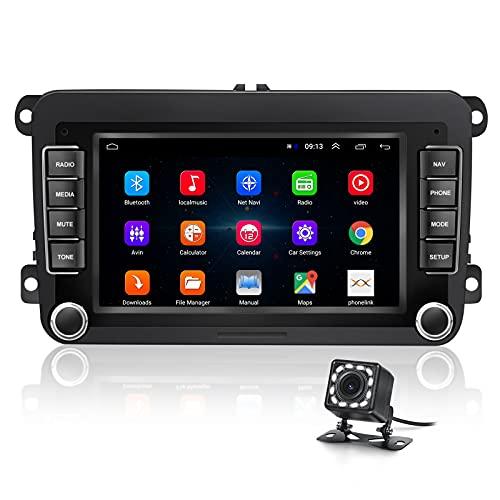 Autoradio Android 10.0 Double Din con WIFI/Wireless Carplay/Bluetooth per VW/Seat/Skoda Monitor touch screen da 7 pollici con capacità di retromarcia e memoria flash [1G+16G]