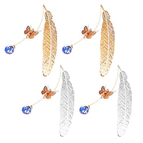 Mlysnd Marcapáginas Metal, 4 Piezas Marcapaginas Originales Marcador de Plumas con Mariposa 3D yBola de Cristal Regalos Creativos para Lectores, Mujeres y Amigos (Plata + Oro)