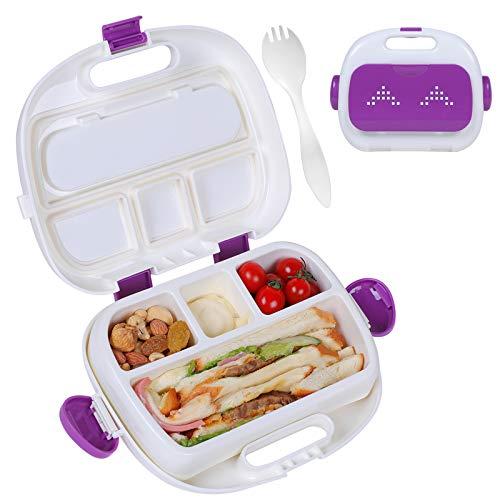 HOMESPON Caja de almuerzo con compartimentos de plástico libre de BPA Bento Box a prueba de fugas Divisores de aperitivos Contenedor de alimentos con cubiertos