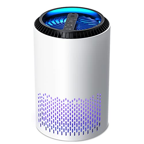 KLOUDIC 空気清浄機 小型 HEPAフィルター内蔵 アロマ対応 PM2.5 微細粒子99.97%除去可 適用範囲6-12畳 脱臭 花粉対策 タイマー付き 3段階切替 空気濾過 静音 カビ取り 軽量 省エネ 台所 寝室 ホワイト