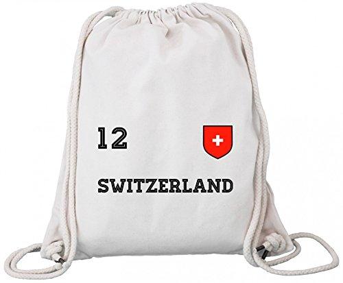 ShirtStreet Swiss Fußball WM Fanfest Gruppen Premium Bio Baumwoll Turnbeutel Rucksack Stanley Stella Trikot Schweiz, Größe: onesize,Natural