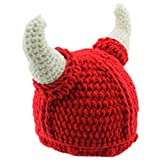 Handmade Winter Viking Horn Knit Wool Baby Caps (0-3years Old, Red)
