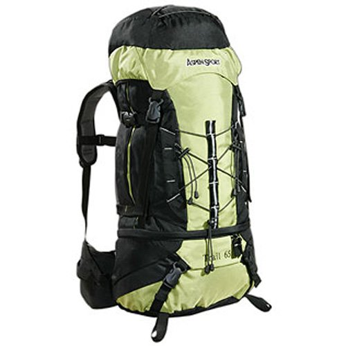 AspenSport Trail - Mochila de Senderismo (65 L), Color Verde y Negro