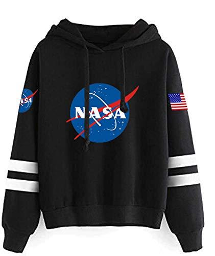 YIMIAO Hombres NASA Sudadera con Capucha Mujer Pullover de Bolsillos Unisex Hoodie de Mangas Largas Sweatshirt(S)