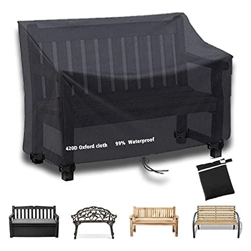 Icetimer Garden Bench Covers 2 Seater, garden furniture covers, Air Vent, Waterproof, Windproof, Anti-UV, Heavy Duty Rip Proof 420D Oxford Fabric Outdoor Patio Bench Seat Cover (134 x 66 x 89cm)