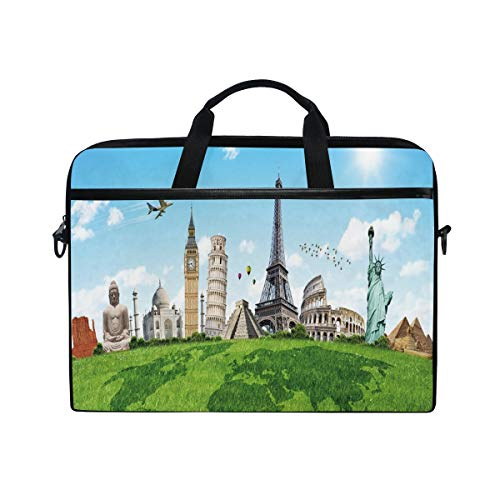 FOURFOOL 15-15.6 inch Laptop Bag,Map Famous Monuments in World Print,New Canvas Print Pattern Briefcase Laptop Shoulder Messenger Handbag Case Sleeve